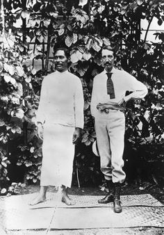 Robert Louis Stevenson with Tuimalealufano at Vailima, Samoa. Photographed by Alfred John Tattersall bewteen 1889 and 1894.