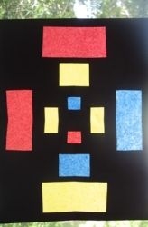 stained glass art with black paper and tissue paper- fine motor and shape recognition+ cool art for the windows!