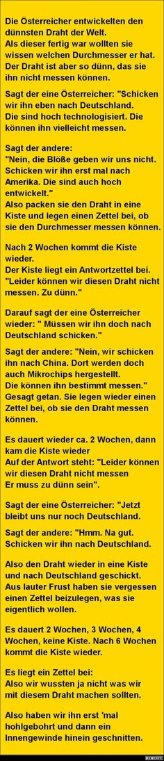 Die Österreicher e… Jokes Quotes, Funny Quotes, Funny Memes, Hilarious, Good Sentences, Text Memes, Bad Puns, Tabu, Good Jokes