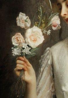 Convallaria maialis — girls holding roses - All About Renaissance Kunst, Renaissance Paintings, Aesthetic Painting, Aesthetic Art, Spring Aesthetic, Aesthetic Roses, Old Paintings, Classic Paintings, Hand Kunst