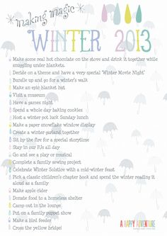 Our Winter Bucket List... makes the colder, rainy days a little more exciting!!