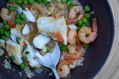 cod and scampi couscous Couscous, Ras El Hanout, Milk And Eggs, Scampi, Egg Free, Quinoa, Cod, Shrimp, Meat