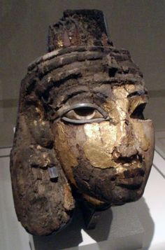 The funeral mask of the Egyptian queen Tiye, BCE. Tiye was the wife of the pharaoh Amenhotep III, mother of Akhenaten, and grandmother of both Tutankhamun. Egyptian Pharaohs, Egyptian Queen, Ancient Egyptian Art, Ancient History, Egyptian Mummies, Amenhotep Iii, Egypt Mummy, Post Mortem, Temples