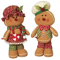 These gingerbread figurines from Gerson are perfect for adding a sweet accent to any holiday celebration. These plush gingerbread feature coordinating red and green outfits and have fun details and holiday accents. Gingerbread Man Decorations, Gingerbread Christmas Decor, Gingerbread Crafts, Santa Decorations, Christmas Home, Christmas Crafts, Christmas Figurines, Collectible Figurines, Holiday Decor