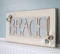 Nautical Beach Decor Shell Sign - Seashell Beachy Wall Sign w Sand Dollars, Starfish - BEACH Beach Room, Beach Art, Beach Cottage Style, Beach House Decor, Seashell Crafts, Beach Crafts, Beach Signs, Wooden Crafts, Beach Themes