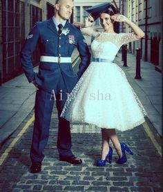 Lovely bateau neckline sash middle length sleeves dots on the dress tea length tulle wedding dress on Etsy, $159.00