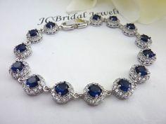 Bridal Bracelet - High Quality Halo Sapphire Blue Round Cubic Zirconias White Gold Plated Bracelet on Etsy, $62.00