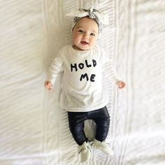 >> Click to Buy << 2016 baby girls clothes Hold Me letter Pattern long sleeve t shirt + metallic pants 2pcs suit newborn baby boy girl clothing set #Affiliate