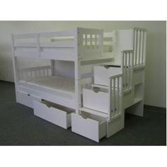 Stairway Bunk Bed Twin over Twin in White with 3 Drawers Built in to the Steps and 2 Under Bed Drawers
