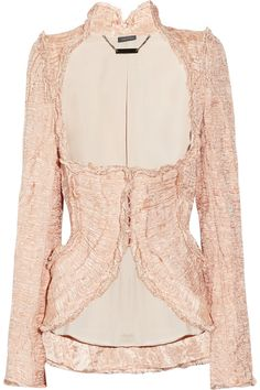 Alexander Mcqueen Embellished Crinkled Organza and Copper Thread Jacket in Pink (copper) | Lyst