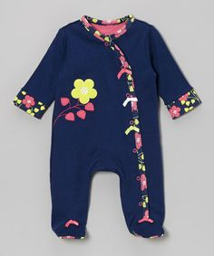Loving this Pink & Navy Blossom Footie - Infant on #zulily! #zulilyfinds