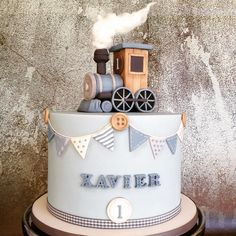 """764 Likes, 25 Comments - Marianne Bartuccelli (@tastefullyyourscakeart) on Instagram: """"1st birthday cake for little Xavier was a tooting success. Handmade steam train topper....smokin!…"""""""