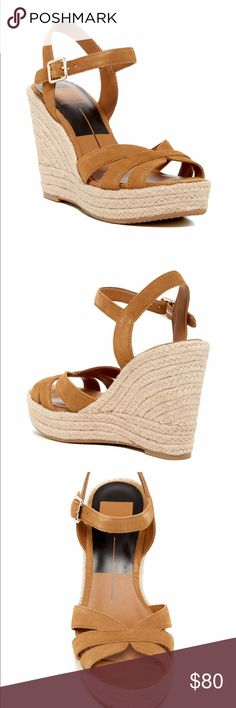 """Dolce Vita Tracey Espadrille Wedge Sandal Brand New!! They are brand new in the box, but I will send them without the box, simply because the box is so large, unless otherwise discussed. ❤️ Woven jute platform Wedge!  So cute!!  Color is """"camel"""". Dolce Vita Shoes Wedges"""