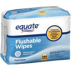 Move over Toilet Paper! These are the POO!!    Equate Flushable Fresh Scent Wipes, 144 count