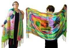 """Silk Shawl Stole Wrap Hijab """"Hundertwasser 2"""" Hand painted Large Scarf with brushes Exclusive Wearable Art  Unique One of a kind Silk 100%"""