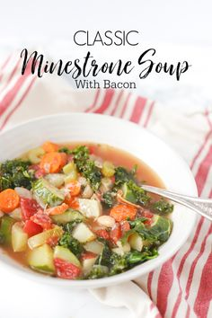 Hearty minestrone soup recipe is a perfect winter soup. This Italian vegetable soup is filled with healthy vegetables, homemade bone broth, and bacon. Not only is it good for you its good for your soul. Healthy Soup Recipes, Easy Dinner Recipes, Chili Recipes, Classic Minestrone Soup Recipe, Clean Eating Snacks, Healthy Eating, Healthy Life, Italian Vegetable Soup, Homemade Bone Broth
