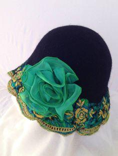 2867e4f3397 Emerald green nuno-felt hat with silk flower by Dawn Edwards of Felt So  Right…