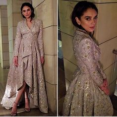 Aditi rao is stealing our hearts in this Papa Don't Preach outfit . Party Wear Indian Dresses, Indian Gowns Dresses, Indian Fashion Dresses, Dress Indian Style, Wedding Dresses For Girls, Indian Designer Outfits, Indian Outfits, Designer Dresses, Stylish Dress Designs