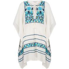 Star Mela Deeta Embellished Kaftan, Ecru/Multi ($200) ❤ liked on Polyvore featuring tops, tunics, indian kaftan, summer tops, long tunics, hippie tunic and beach caftan