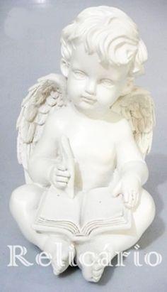 Anjo Sentado Com Livro Decoração de Mesa