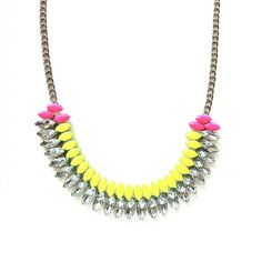 Neon Yellow and Neon Pink Hand-painted Crystal Necklace, by Spike the Punch on etsy