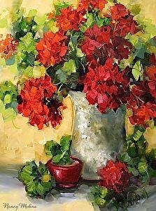 Abiding Love Red Geraniums by artist Nancy Medina. (Oil) Found on the FASO Daily Art Show -- http://dailyartshow.faso.com