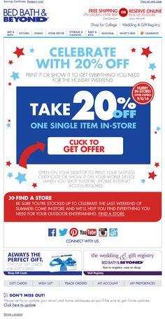 0a6ed62d8432 Bed Bath   Beyond Labor Day email 2014. Sale EmailsEmail Design Inspiration Black ...