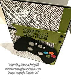 Stampin' Up! Xbox card, teenage birthday card, masculine card, boy card, punch art, Big Day stamp set - Katrina Duffell