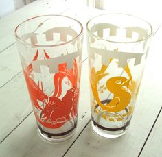 Two Vintage Circus Drinking Glasses  ~~~ Orange Parrots and Yellow Tweety Birds by lookonmytreasures on Etsy