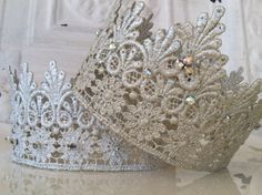 Lace Rhinestone Crowns. $29.00  (Lace, Stiffy, Rhinestones, glue gun. boom!)
