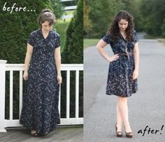 I don't know why I've never thought of revamping a dress from the thrift store. Super cute and simple to do.