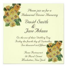 Sunflower Wedding Rehearsal Dinner SUNFLOWERS -wedding rehearsal dinner Card