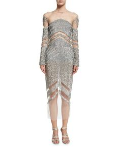 Crystal+Long-Sleeve+Cocktail+Dress,+Silver+by+Pamella+Roland+at+Neiman+Marcus.
