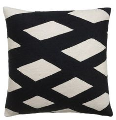 Plaid 18x18 Embroidered Pillow, Black