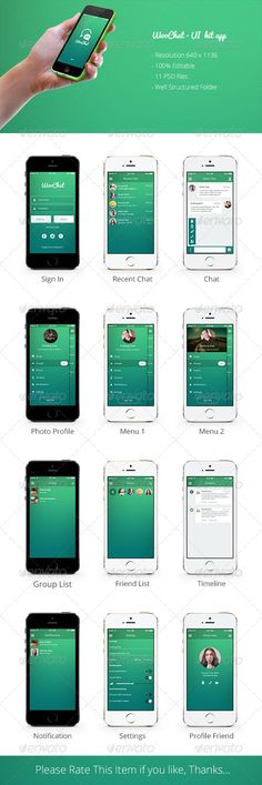 WooChat - UI Kit Mobile Chat App by sanaqila Editable files in these file formats (PSD) Retina resolution 11 PSD files Well Structured Folder FONTSFon Web Design, Ios App Design, Iphone App Design, Iphone App Layout, Graphic Design, Mobile Application Design, Mobile Ui Design, Mobiles, Mobile Chat App
