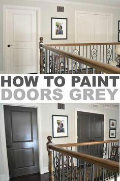 Front and back door color--How to paint doors grey Interior Door Colors, Painted Interior Doors, Painted Doors, Grey Interior Doors, Wood Doors, Grey Doors, Dark Doors, Brown Doors, Painted Bedroom Doors