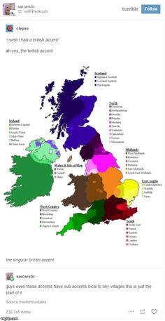 A dialect map of The British Isles. Name of dialect and corresponding colour in key. Growing Up British, Being British, Typical British, British Family, British Things, British People, British Accent, Scottish Accent, It's Meant To Be