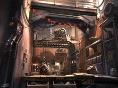 sparth - nicolas bouvier Art Director - Halo 5 RAGE - Mick's garage. concept 2