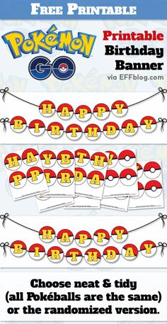 Pokémon Gopocalypse is in full swing and the kids are obsessed. Here's a free printable birthday banner to help you prepare for the inevitable.