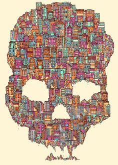 skull buildings of a city