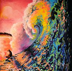 Painting water is challenging and exciting...Surfing Painting Colorful Wave by scgeraci on Etsy, $250.00