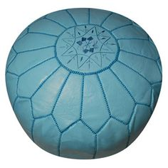 Leather Pouf Sky Blue now featured on Moroccan Prestige