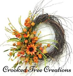 One Of A Kind Wreaths, Arrangements And Floral Decor by CrookedTreeCreation Autumn Wreaths, Wreath Fall, Spring Wreaths, Holiday Wreaths, Holiday Decor, Crooked Tree, Fall Swags, Fall Door Decorations, Thanksgiving Decorations