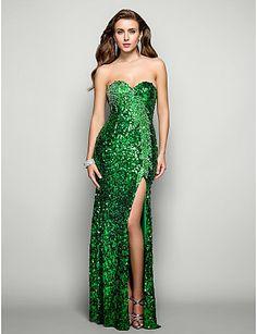 Vestido de Fiesta Verde con Lentejuelas @ Vestidos de Fiesta Baratos