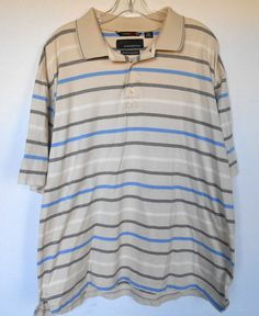 Greg Norman Golf Polo Shirt Mens XL Cotton Tan with Blue Black Stripes The Shark #GregNorman #PoloRugby