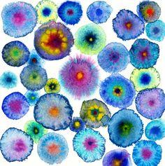 Grands cercles bleu abstrait toile imprimé - fleurs 7 bleu - Edition Ltd