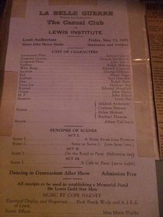 This is the last piece in the WIlliams' Family Scrapbook. May 13, 1921, it is a program for a musicale given at the Lewis Institute, where both Howard and Margaret graduated. Margaret would have been 29 at this time. Mother passed away at the age of 65, seven years later.