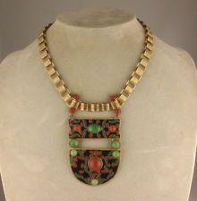 Big Vintage French Art Deco Brass Bookchain Jade Glass Enamel Pendant Necklace