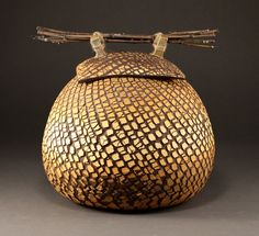 Patrick Hall: large covered jar,bamboo, jute. #Ceramic #contemporary ceramics # Patrick hall