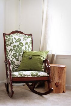 re-upholstered rocking chair, similar to ours. if you have a baby, this is a must!